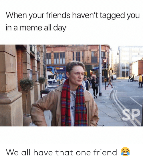 Meme All: When your friends haven't tagged you  in a meme all day  SP We all have that one friend 😂