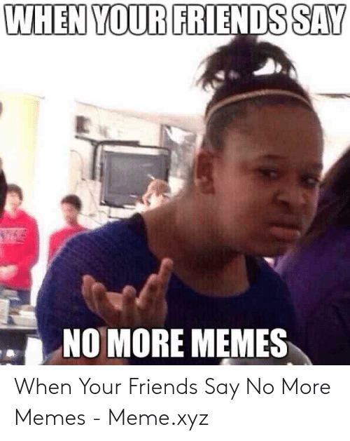 Say What Meme: WHEN YOUR FRIENDS SAY  NO MORE MEMES When Your Friends Say No More Memes - Meme.xyz