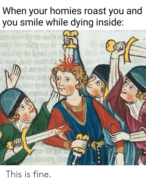 Dying Inside: When your homies roast you and  you smile while dying inside:  19  rd This is fine.