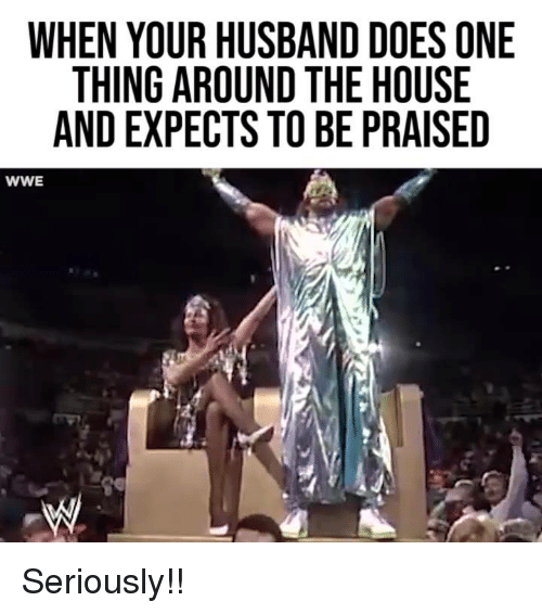 Dank, World Wrestling Entertainment, and House: WHEN YOUR HUSBAND DOES ONE  THING AROUND THE HOUSE  AND EXPECTS TO BE PRAISED  WWE Seriously!!