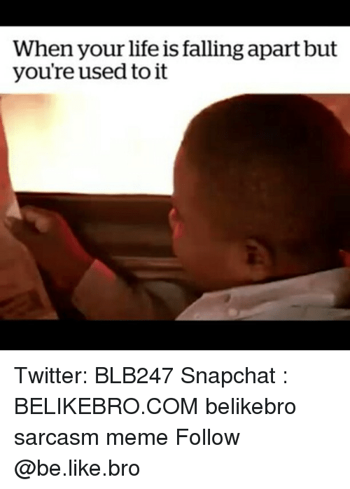 Be Like, Life, and Meme: When your life is falling apart but  you're used to it Twitter: BLB247 Snapchat : BELIKEBRO.COM belikebro sarcasm meme Follow @be.like.bro