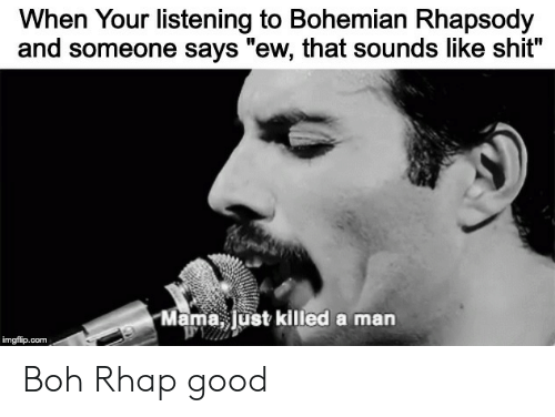 """Bohemian: When Your listening to Bohemian Rhapsody  and someone says """"ew, that sounds like shit?  Mama, Just killed a man  imgflip.com Boh Rhap good"""