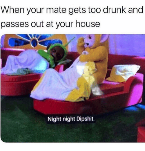 night night: When your mate gets too drunk and  passes out at your house  Night night Dipshit.