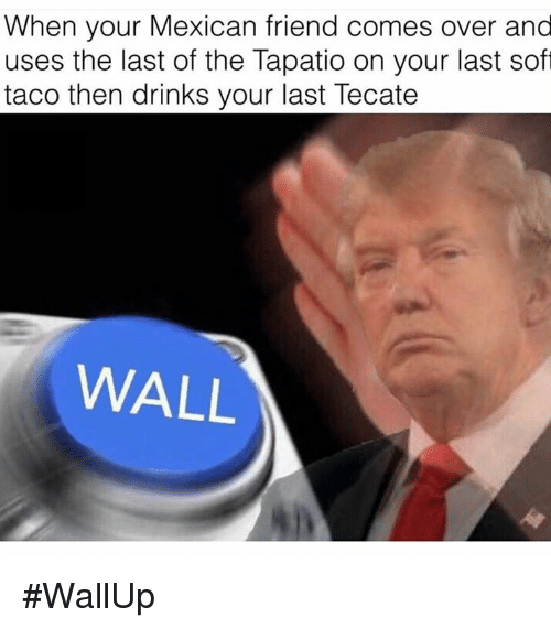 Come Over, Drinking, and Friends: When your Mexican friend comes over and  uses the last of the Tapatio on your last soft  taco then drinks your last Tecate  WALL #WallUp