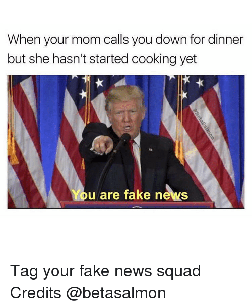 Memes, 🤖, and Down: When your mom calls you down for dinner  but she hasn't started cooking yet  You are fake news Tag your fake news squad Credits @betasalmon