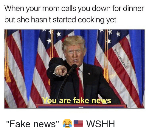 "Memes, 🤖, and Down: When your mom calls you down for dinner  but she hasn't started cooking yet  u are fake news ""Fake news"" 😂🇺🇸 WSHH"
