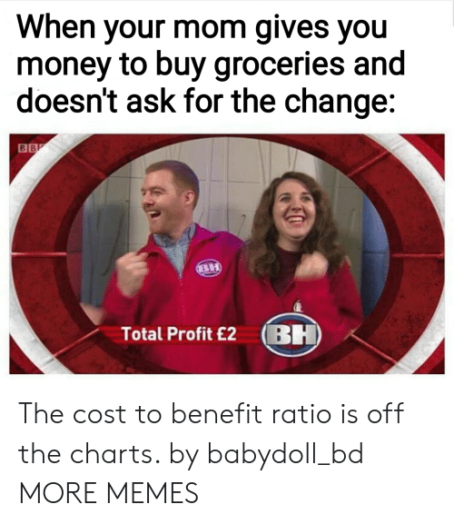 Off The Charts: When your mom gives you  money to buy groceries and  doesn't ask for the change:  Total Profit £2 BH The cost to benefit ratio is off the charts. by babydoll_bd MORE MEMES
