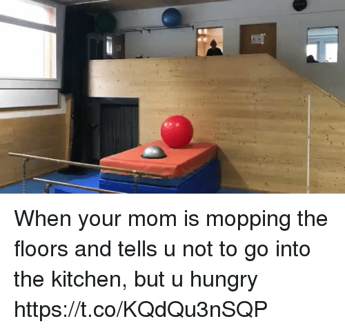 Hungry, Girl Memes, and Mom: When your mom is mopping the floors and tells u not to go into the kitchen, but u hungry  https://t.co/KQdQu3nSQP