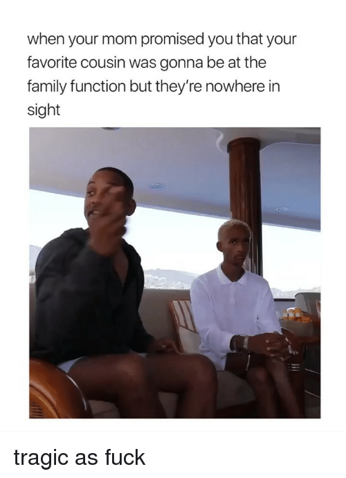 Family, Fuck, and Girl Memes: when your mom promised you that your  favorite cousin was gonna be at the  family function but they're nowhere in  sight tragic as fuck