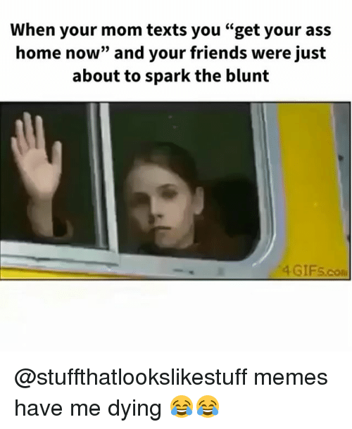 "Ass, Friends, and Memes: When your mom texts you ""get your ass  home now"" and your friends were just  about to spark the blunt  4 GIFS.co @stuffthatlookslikestuff memes have me dying 😂😂"