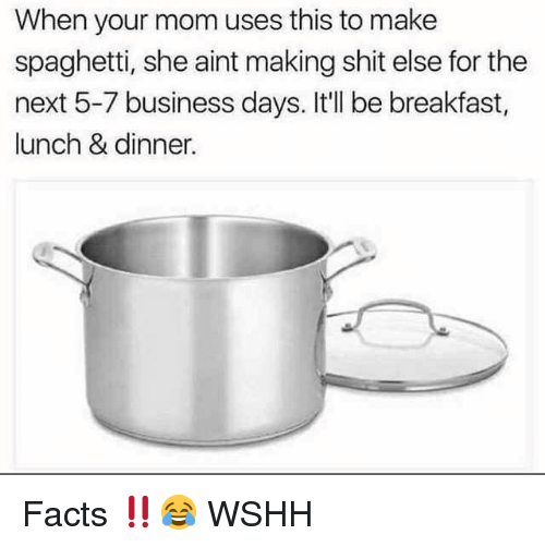 Facts, Memes, and Shit: When your mom uses this to make  spaghetti, she aint making shit else for the  next 5-7 business days. It'll be breakfast,  lunch & dinner. Facts ‼️😂 WSHH
