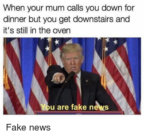 Memes, 🤖, and Down: When your mum calls you down for  dinner but you get downstairs and  it's still in the oven  u are fake news Fake news