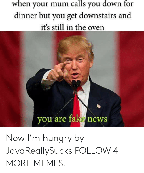 Dank, Fake, and Hungry: when your mum calls you down for  dinner but you get downstairs and  it's still in the oven  you are fake news Now I'm hungry by JavaReallySucks FOLLOW 4 MORE MEMES.