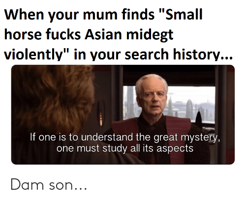 "dam son: When your mum finds ""Small  horse fucks Asian midegt  violently"" in your search history...  If one is to understand the great mystery,  one must study all its aspects Dam son..."
