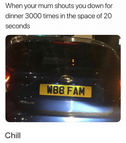 Chill, Fam, and Space: When your mum shouts you down for  dinner 3000 times in the space of 20  seconds  W88 FAM Chill