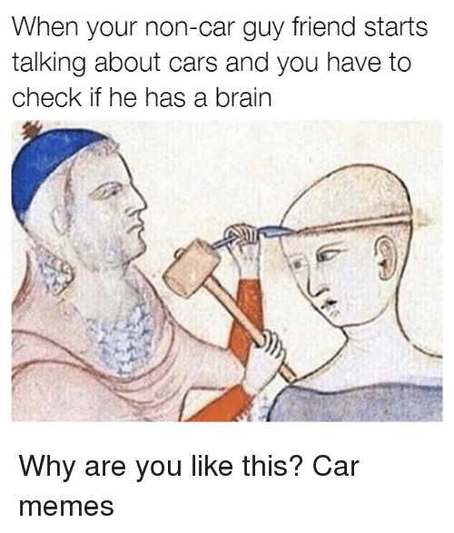 Car Guy: When your non-car guy friend starts  talking about cars and you have to  check if he has a brain Why are you like this? Car memes