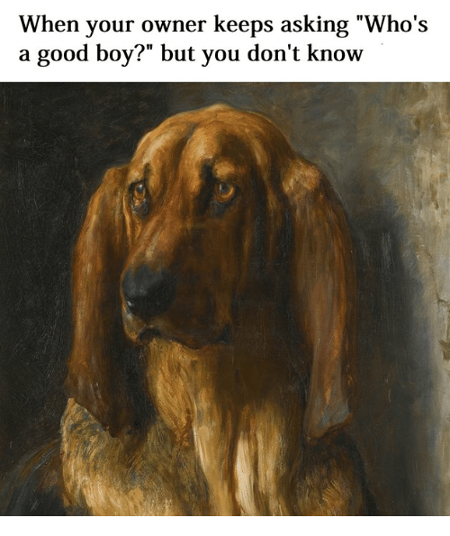 """Good, Classical Art, and Asking: When your owner keeps asking """"Who's  a good boy?"""" but you don't know"""