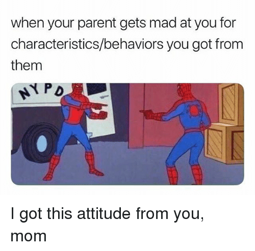 Girl Memes, Mad, and Attitude: when your parent gets mad at you for  characteristics/behaviors you got from  them I got this attitude from you, mom