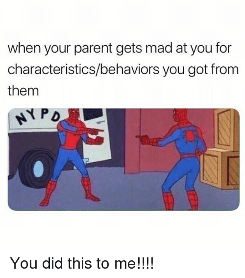 You Did This To Me: when your parent gets mad at you for  characteristics/behaviors you got from  them You did this to me!!!!