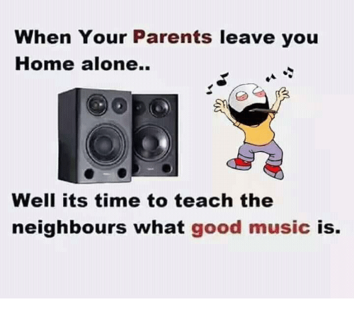 Good: When Your Parents leave you  Home alone.  Well its time to teach the  neighbours what good music  is