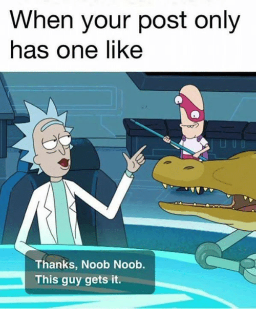 Noobing: When your post only  has one like  Thanks, Noob Noob.  This guy gets it.