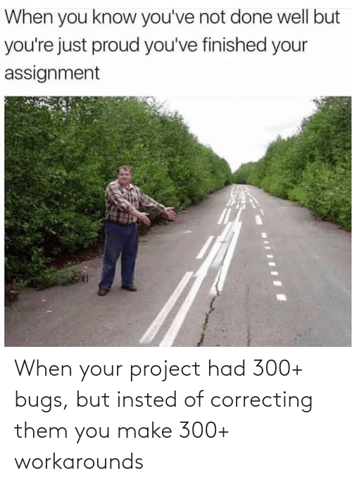 Insted: When your project had 300+ bugs, but insted of correcting them you make 300+ workarounds