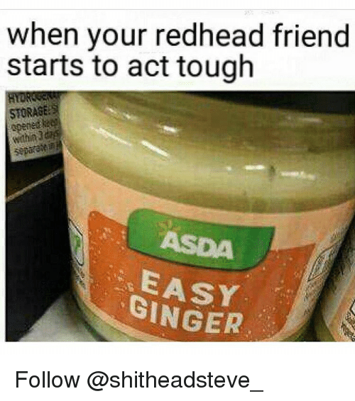 Memes, Tough, and 🤖: when your redhead friend  starts to act tough  STORAGE  GINGER Follow @shitheadsteve_