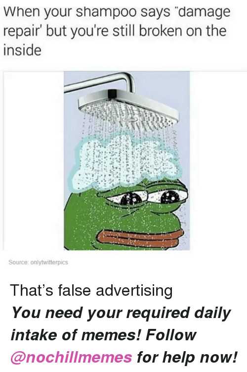 """False Advertising: When your shampoo says """"damage  repair' but you're still broken on the  inside  Source: onlytwitterpics <p>That's false advertising</p><p><b><i>You need your required daily intake of memes! Follow <a>@nochillmemes</a> for help now!</i></b><br/></p>"""