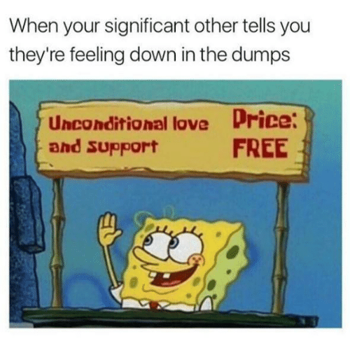 Love, Free, and Humans of Tumblr: When your significant other tells you  they're feeling down in the dumps  Unconditional love Price  FREE  and support