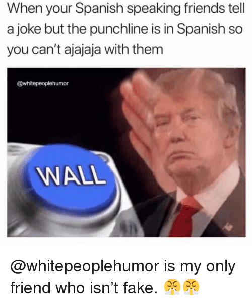 Fake, Friends, and Memes: When your Spanish speaking friends tell  a joke but the punchline is in Spanish so  you can't ajajaja with them  @whitepeoplehumor  WALL @whitepeoplehumor is my only friend who isn't fake. 😤😤