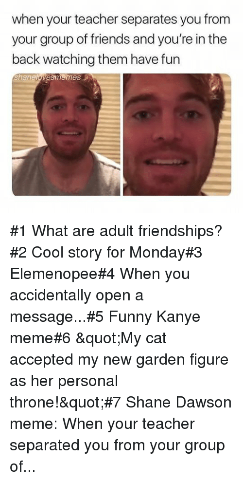 """dawson: when your teacher separates you from  your group of friends and you're in the  back watching them have fun  Shanelovesmemes #1 What are adult friendships?#2 Cool story for Monday#3 Elemenopee#4 When you accidentally open a message...#5 Funny Kanye meme#6 """"My cat accepted my new garden figure as her personal throne!""""#7Shane Dawson meme: When your teacher separated you from your group of..."""