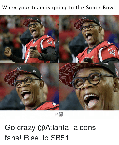 Memes, Super Bowl, and Atlantafalcons: When your team is going to the Super Bowl  NFL Go crazy @AtlantaFalcons fans! RiseUp SB51