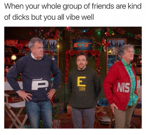 Dicks, Friends, and Funny: When your whole group of friends are kind  of dicks but you all vibe well  NIS