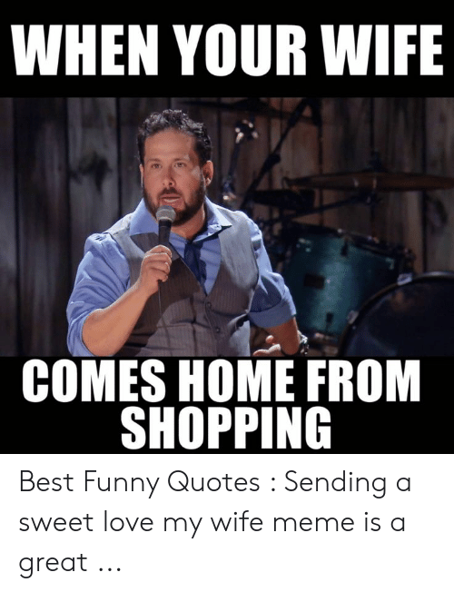 Love My Wife Meme: WHEN YOUR WIFE  COMES HOME FROM  SHOPPING Best Funny Quotes : Sending a sweet love my wife meme is a great ...