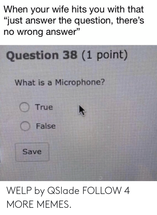 "Just Answer The Question: When your wife hits you with that  ""just answer the question, there's  no wrong answer""  Question 38 (1 point)  What is a Microphone?  True  False  Save WELP by QSlade FOLLOW 4 MORE MEMES."