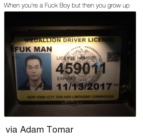 New York, Fuck, and Taxi: When you're a Fuck Boy but then you grow up  MEDALLION DRIVER LICEN  FUK MAN  E NEMAMB  LIC  459011  EXP  162 S  NEW YORK CITY TAXI AND LIMOUSINE COMMISSION via Adam Tomar