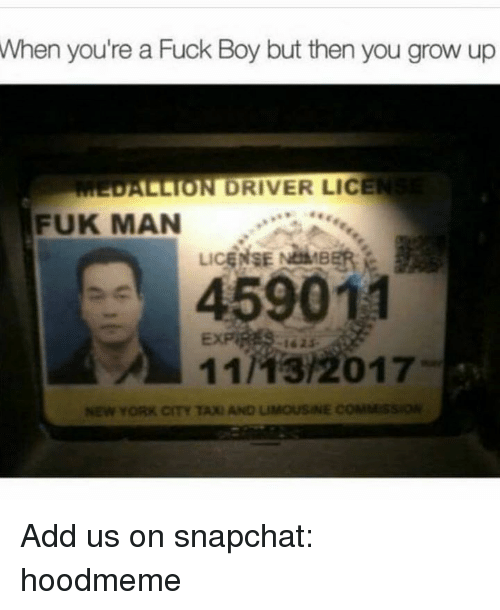 Fuks: When  you're a Fuck Boy but then you grow up  ALLION DRIVER LICE  FUK MAN  LiCE  459011  11/13/2017  -162$-  11As/2017  NEW YORK CITY TAXI AND LIMOUSINE COMMss Add us on snapchat: hoodmeme
