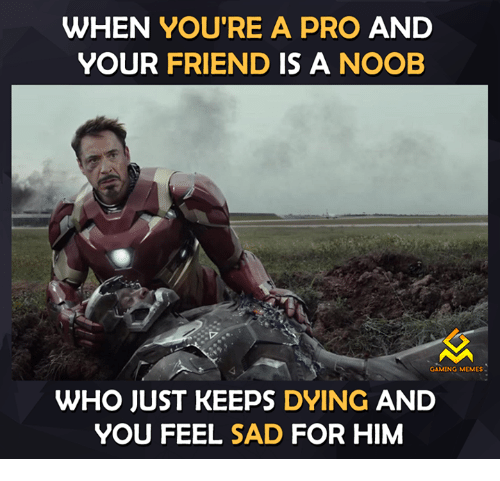 Gaming Meme: WHEN YOU'RE A PRO AND  YOUR  FRIEND IS A NOOB  GAMING MEMES  WHO JUST KEEPS DYING  AND  YOU FEEL SAD FOR HIM