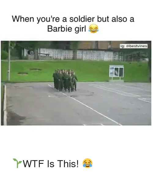 barbi: When you're a soldier but also a  Barbie girl  ig: abestvines ⠀ 🌱WTF Is This! 😂