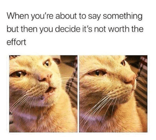 not worth the effort: When you're about to say something  but then you decide it's not worth the  effort
