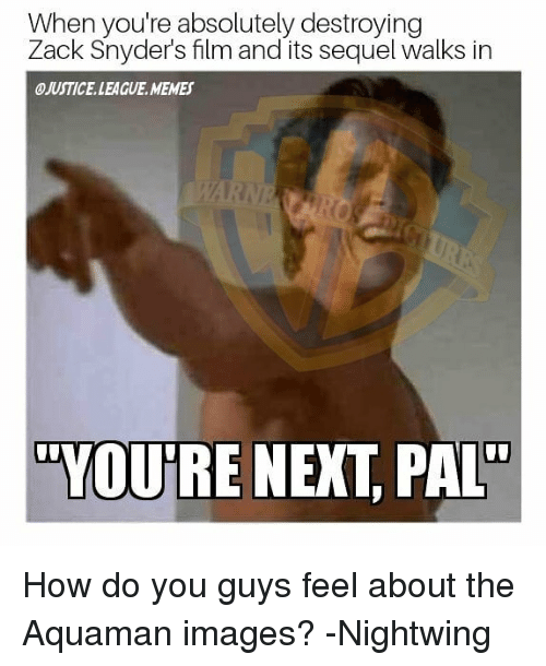 "League Memes: When you're absolutely destroying  Zack Snyder's film and its sequel walks in  ④JUSTICE. LEAGUE. MEMES  ""YQUIRE NEXT, PAL How do you guys feel about the Aquaman images? -Nightwing"