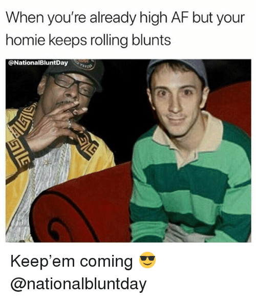 Af, Blunts, and Homie: When you're already high AF but your  homie keeps rolling blunts  @NationalBluntDay Keep'em coming 😎 @nationalbluntday