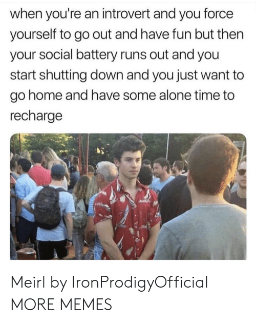 an introvert: when you're an introvert and you force  yourself to go out and have fun but then  your social battery runs out and you  start shutting down and you just want to  go home and have some alone time to  recharge Meirl by IronProdigyOfficial MORE MEMES