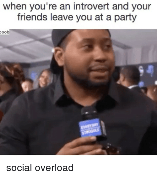 Friends, Introvert, and Party: when you're an introvert and your  friends leave you at a party  oob social overload