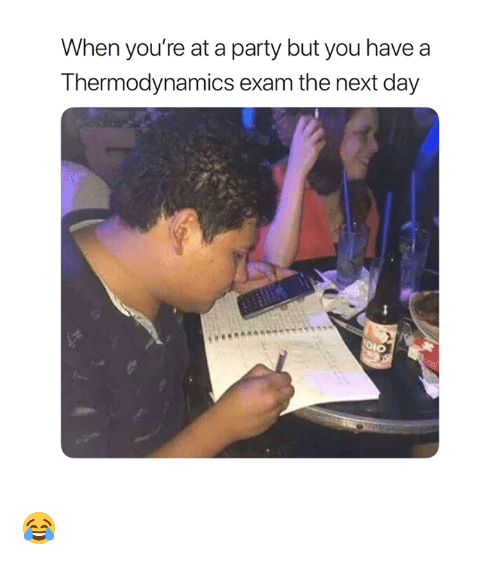 dio: When you're at a party but you have  Thermodynamics exam the next day  DIO 😂