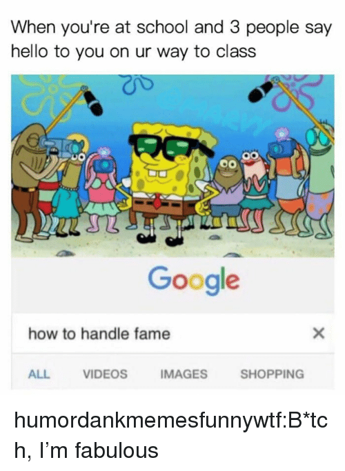 How To Handle Fame: When you're at school and 3 people say  hello to you on ur way to class  Google  how to handle fame  ALL  VIDEOS  IMAGES  SHOPPING humordankmemesfunnywtf:B*tch, I'm fabulous