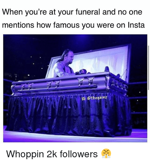 Memes, 🤖, and How: When you're at your funeral and no one  mentions how famous you were on Insta  IG: @thegainz Whoppin 2k followers 😤