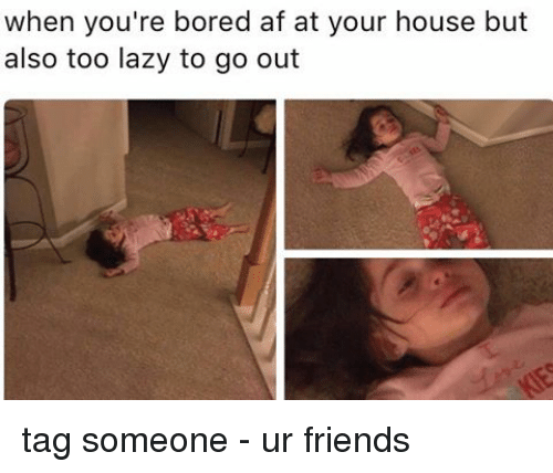 Lazy, Memes, and Laziness: when you're bored af at your house but  also too lazy to go out tag someone - ur friends