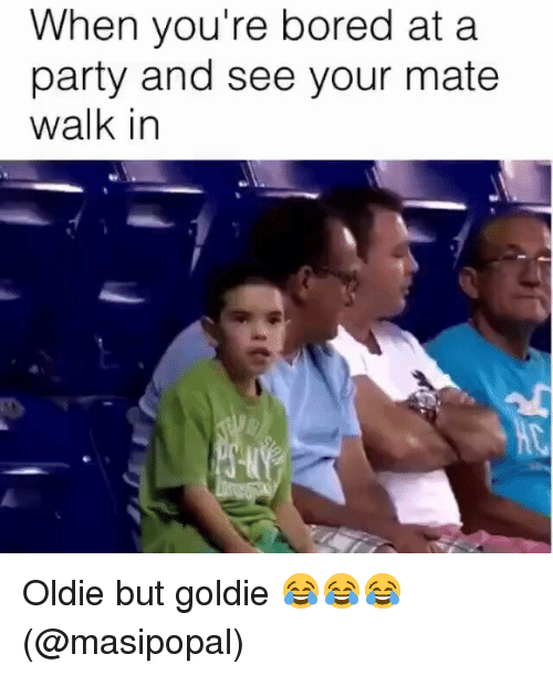Bored, Memes, and 🤖: When you're bored at a  party and see your mate  walk in Oldie but goldie 😂😂😂 (@masipopal)