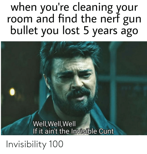 Cleaning Your Room: when you're cleaning your  room and find the nerf  gun  bullet you lost 5 years ago  Well,Well,Well  If it ain't the Invisible Cunt Invisibility 100